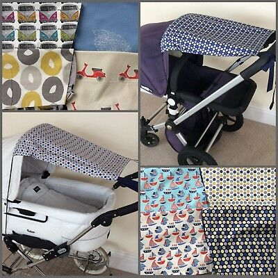 Universal Cotton SUN CANOPY Pram Sunshade BOYS Colours Scooters Stars Boats Cars