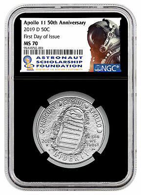 2019 D Apollo 11 50th Clad Half Dollar NGC MS70 FDI Blk Astronaut SKU56973
