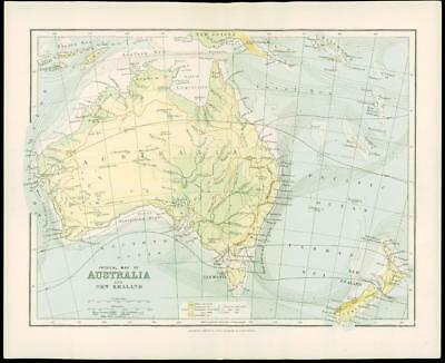 1900 Original Antique Colour Map of AUSTRALIA New Zealand New Guinea (16)
