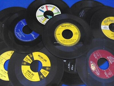 "15 Pc Lot of 7"" Vinyl Records - 45 rpm - For Crafts, Decorations, Parties, Etc"