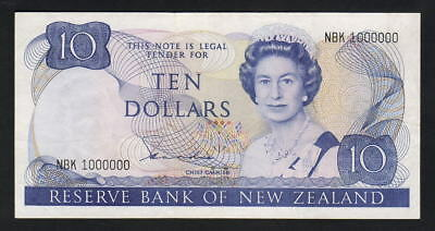 NEW ZEALAND P-172a. (1981-85) $10 - One Million Serial Number.. gVF - RARE