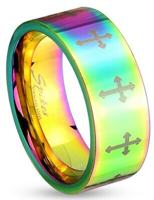 New Stainless Steel Multi-Color Rainbow Cross Band Ring, Sizes 5-13