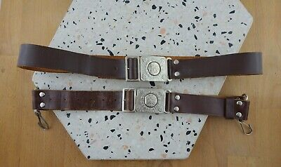 2 x Vintage Girl Guides 1950's / 60's Brown Leather Belts