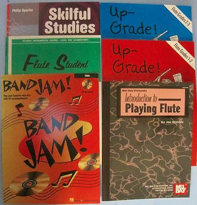 Lot 6 Flute Songbooks Grades 1-3 Method Student Studies Introduction Band Jam CD