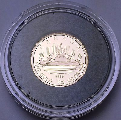 2005 Proof Canada 50 Cents Canoe 1/25 Ounce 9999 Gold Coin - Mint Condition