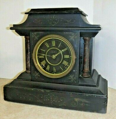 Antique Metropolitan New York Ebony Mantle Chime Clock Working Cathedral Gong
