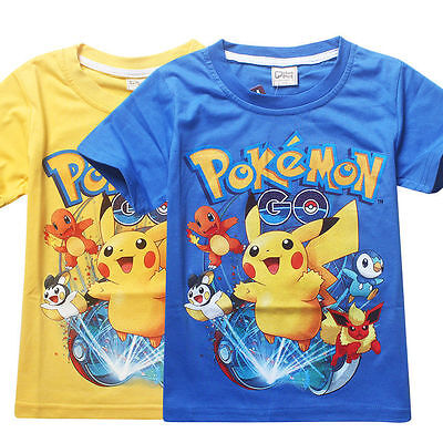 New Kids Boys Toddlers Summer Pokemon Go Pikachu Cartoon Tops T Shirt Basic Tees