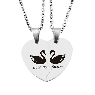 Couple Love you for ever Stainless Steel Heart Pendant Necklace 46cm