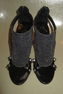dcf21aca9f07 GIUSEPPE ZANOTTI Beaded Bib Front Studded with Silver High Heel Sandals  Shoes 38