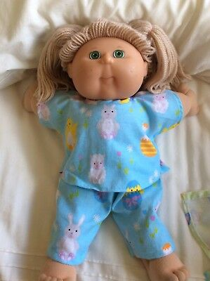 "DOLLS CLOTHES fit 16"" CABBAGE PATCH DOLL - Pyjamas. Easter - Blue ~Bunnies/ Eggs"