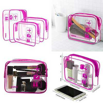 3Pcs ANRUI Clear Travel Toiletry Bag TSA Approved Carry On Cosmetic Bags Airport
