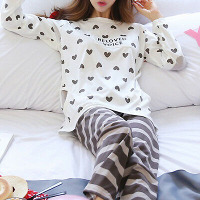 Women Long Sleeve Pajamas Set Heart Print Tops+Pants Sleepwear Nightwear PJS Set