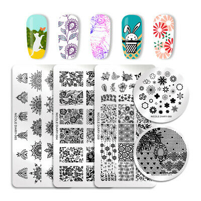 NICOLE DIARY Nail Stamping Plates Lace Flowers  Image Templates Tools