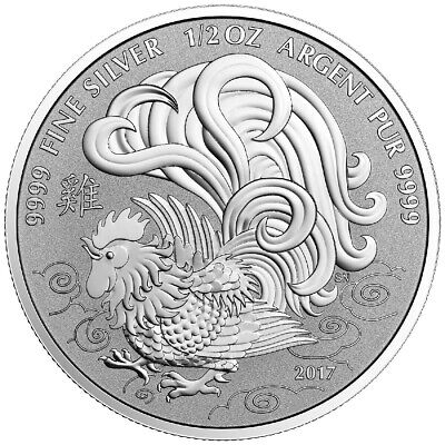 Canada 5 Dollars 2017 1 Oz. Silver 9999 Year Of Rooster Unc Coin