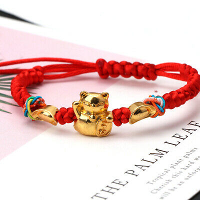 Lucky Kabbalah Red String Braided Golden Fortune Cat Bracelets Fashion Jewelry