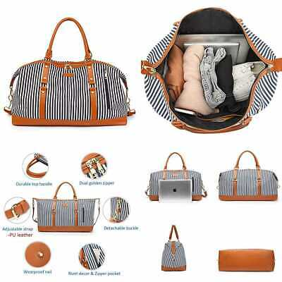 Waterproof Weekender Travel Tote Duffel Bag Overnight Carry On W Canvas Strap Fo