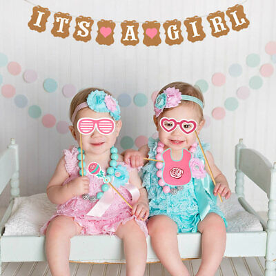 Baby Shower Photo Booth Props Baby Girl Banner Birthday DIY Accessories Games
