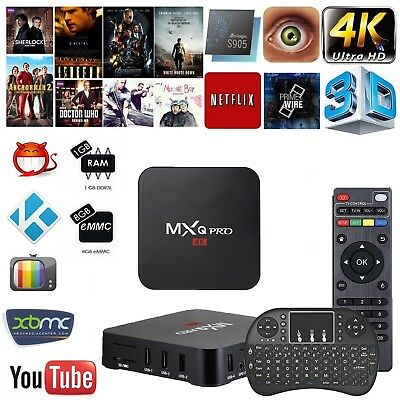 MXQ PRO 4K 2GB Smart IPTV BOX XBMC/ Android 7.1 64bit WiFi 16GB MiniPC+TASTIERA