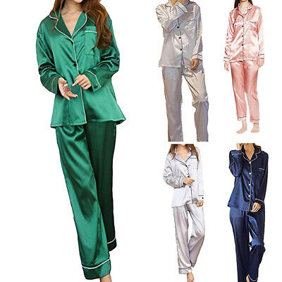 Women Silk Satin Pajamas Set Pyjama Suit Sleepwear Nightwear Homewear Loungewear