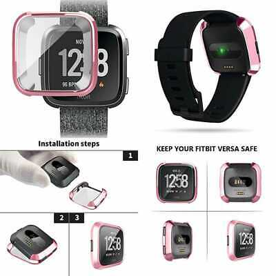 Compatible W Fitbit Versa Watch Case Full Coverage Plated Slim TPU Smartwatch Co