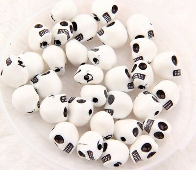 50pcs Black White  Acrylic Beads Skull Bead Spacer charms 12x12mm