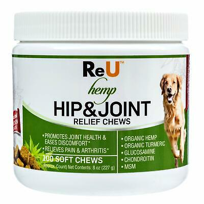 ReU Hemp Hip and Joint Relief Treats for Dogs - Organic Hemp Seed and Oil Tur...