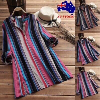 Plus Size Womens Striped V Neck Baggy Blouse Ladies Casual Long Sleeve Tunic Top