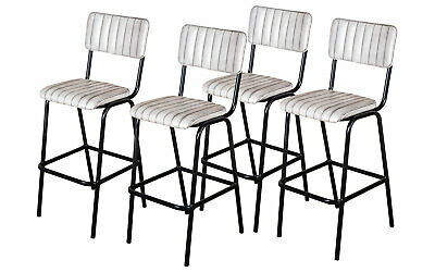 Set Of 4 White Upholstered Bar Stool In Vintage Style Faux Leather 76Cm Leather