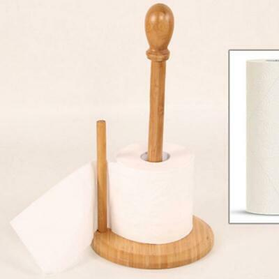 KITCHEN ROLL HOLDER WOODEN PAPER TOWEL POLE RAIL STAND DISPENSER GREY QUALITY