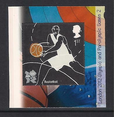 GB mint stamps - 2009 London 2012 Olympic Games ex booklet s/a stamp, Basketball