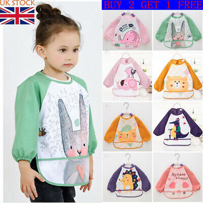 Baby Bibs with Long Sleeves Waterproof Unisex Bandana Drool Kid Apron for Infant