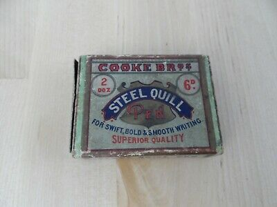 Cooke Bros Steel Quill Pen Box and Five Quill Nibs