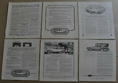 1918 FRANKLIN advertisements x6, Franklin Automobile Co. sedan etc