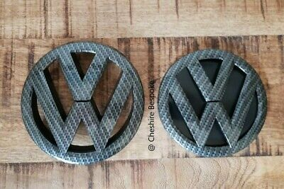 VW POLO 6R MK5 - Carbon Firbre Black Front & Rear Badge Set [Fits 2009-2014]