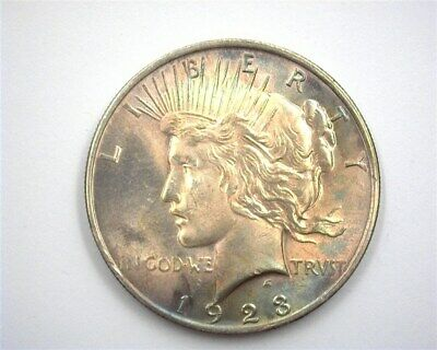 1923 Peace Silver Dollar  Near Gem Uncirculated Rainbow Toning!