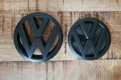 VW POLO 6R MK5 - Matt Matte Black Front & Rear Badge Set [Fits 2009-2014]