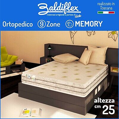 Materasso Singolo 80X190 H25 Cm 9 Zone Differenziate 7 Cm Memory Foam Duck