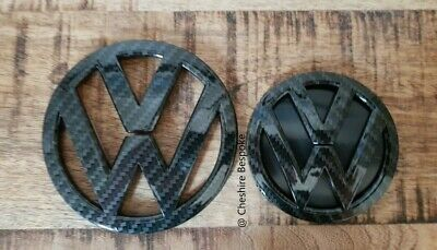 NEW VW Scirocco MK3 Carbon Fibre Black Front & Rear Boot Badge [Fits 2015-2018]