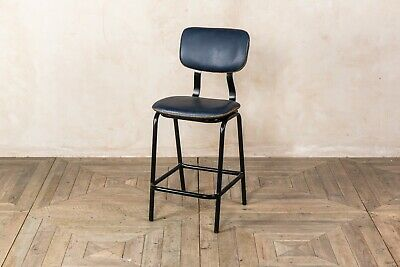 Oxford Blue Backed Breakfast Bar Stool Upholstered In Cross Stitch Faux Leather
