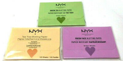 (3) NYX Blotting Paper New & Sealed Full Set Green Tea Fresh Face Tea Tree