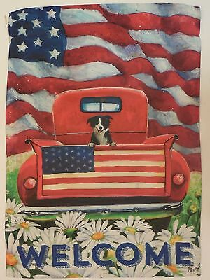 Border Collie Dog in Red Pick up Truck, Patriotic American flag HOUSE flag