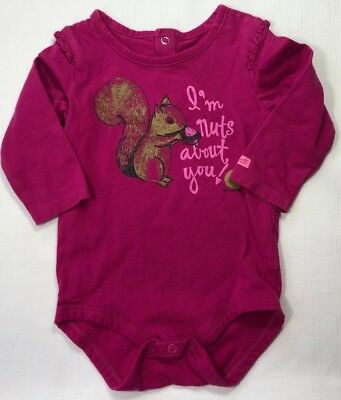 5d60e2efe Carhartt Baby Girls 9 Months Pink Squirrel Bodysuit I'm Nuts About You