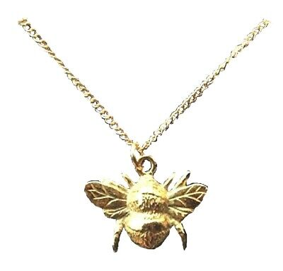 Bee Pendant Gold Plated Necklace Charm Insect Bumble Worker Gift Jewellery