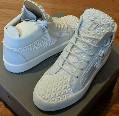 f8c464e94f305 $795 Mens Giuseppe Zanotti Spiked Leather Mid-Top Sneakers White 43 US 10