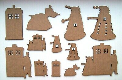 MDF Wooden Dr Who laser cut out shapes, craft making, decoration, painting