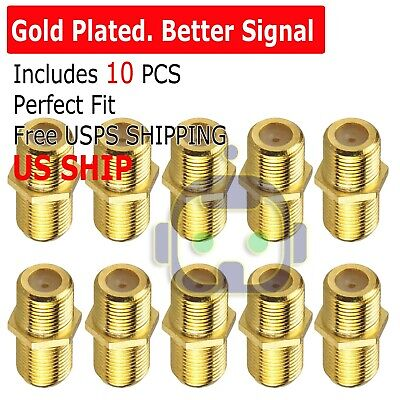 10PCS F Type Coax Coaxial Cable Coupler Female Jack Adapter Connector M380