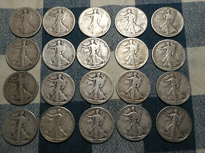 1 Roll Early Date 90% Silver Walking Liberty Half Dollars - $10 Face 1916 - 1939