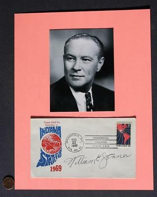 1944-59 Indiana GOP Senator William Jenner signed 1969 First Day Cover & photo!*