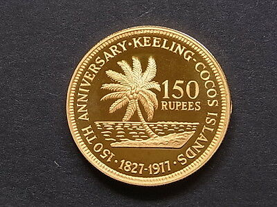 Cocos Keeling Islands. 1977 Gold -150 Rupees..  Proof - In Case of Issue