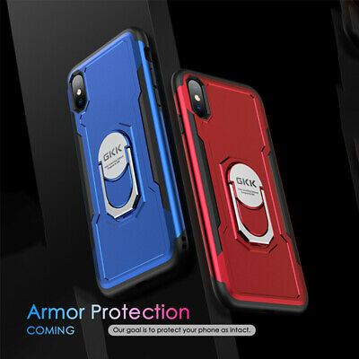 For iPhone XS X 6 6s 7 8 Plus Shockproof Ring Kickstand Hard Phone Case